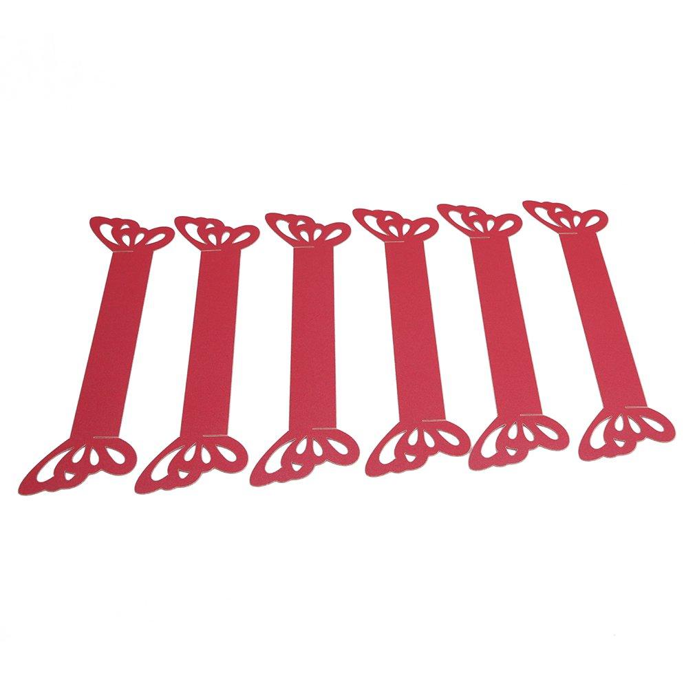 Jixing 50pcs 3d Papillon Serviette en Papier–Bague Anneaux de serviette Décoration de table de fête de mariage 20 * 2.5cm Red