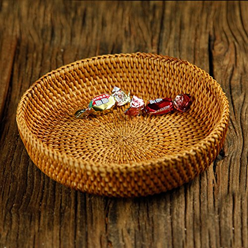 100% Handmade Weaved Storage Bin Fruit Basket Rattan Hamper Wicker Tray Weaving Rack Holder Dining Room Small Container Box Natural Decor Serving Handcrafted Bowl Organizer Serving Snack Dish Display by yaku (Image #7)