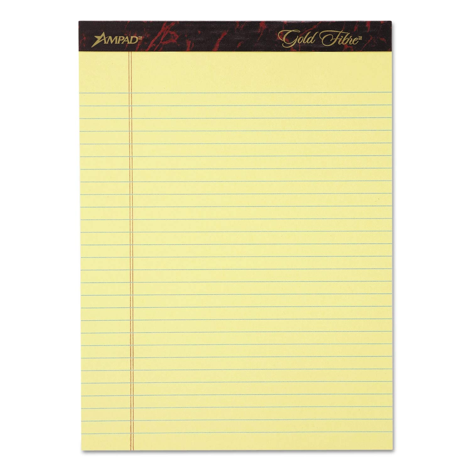 Ampad Gold Fibre Writing Pads, Legal/Wide, 8 1/2 x 11 3/4, Canary, 50 Sheets, 4/Pack - 20-032 (Pack of 2)