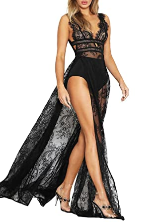 3911793eee Image Unavailable. Image not available for. Color  Romacci Sexy Women Sheer  Lace Maxi Dress Deep V Neck Sleeveless High Split ...