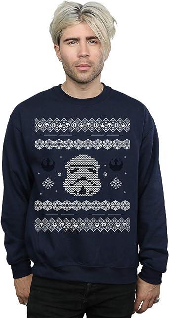 Star Wars Hombre Stormtrooper Christmas Fair Isle Camisa De Entrenamiento Azul Marino XXXXX-Large: Amazon.es: Ropa y accesorios