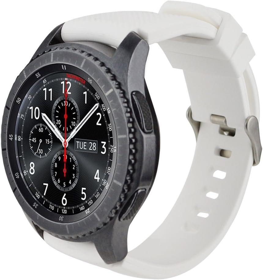 iBazal 22mm Correa Silicona Pulseras Bandas Compatible con Samsung Galaxy Watch 46mm,Gear S3 Frontier Classic,Huawei GT/2 Classic/Honor Magic,Ticwatch Pro Hombres Mujeres (Reloj No Incluido) - Blanco