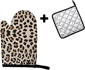 MSGUIDE Leopard Print in Beige Background Oven Mitt and Pot Holder Heat Resistant Oven Glove for Kitchen Cooking Baking, BBQ, Grilling
