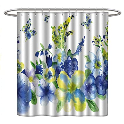 Zojihouse Yellow And Blue Shower Curtains Fabric Extra Long Spring Flower Watercolor Flourishing Vibrant Blooms Artsy