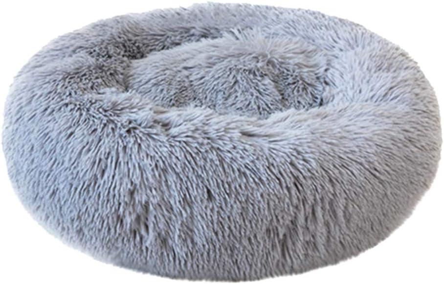 Dowoa Cama para Mascotas, Cama de Felpa Redonda Cama Nido de Gato Almohada de Felpa Cama de Dormir Suave y Redonda para Gatos en Forma de rosquilla para Perros pequeños, medianos y Grandes