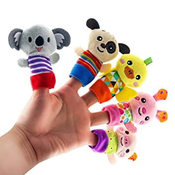 5 Pcs Animal Finger Puppets for Kids,Cute Cartoon Plush Animal Finger Puppets Funny Plush Dolls Educational Hand Animal Toys,Great for Storytelling,Role-Playing,Teaching and Fun