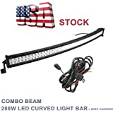 Topcarlight 50inch 288w LED Curved Work Light Bar Combo Beam Off Road Truck 4wd SUV ATV with Free Wiring Harness