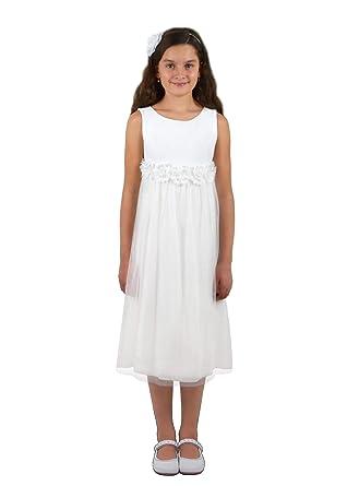 77767ca20e0515 Verasposa® Elfenhaftes Glitzer Kommunionkleid Milly weiß für Mädchen,  Knielang, mit Blumen an der