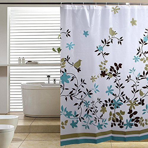 Blu-Pier Decorative PEVA Mildew Free Water Repellant Shower Curtain 72x72 Comes With 12 Hooks (Birds and Leaves) (Birds Shower Curtain)