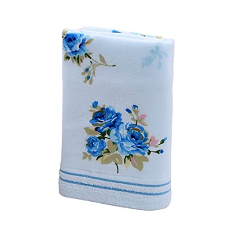 OUNONA 33x76cm Toalla de baño de algodón suave impresión de flores Cuarto de baño Home Hotel