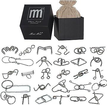 FOKOM Rompecabezas Metal 28Pack Puzzles 3D Juegos de Ingenio Juegos de Mesa Juego IQ Juguete Educativos Habilidad Juego Logica Calendario de Adviento para Niños y Adultos: Amazon.es: Juguetes y juegos
