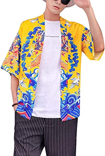 Hombre Cárdigan Kimono Manga Corta Estilo Chino Japonesa Hanfu Traje Tang Capa Camisa: Amazon.es: Ropa y accesorios