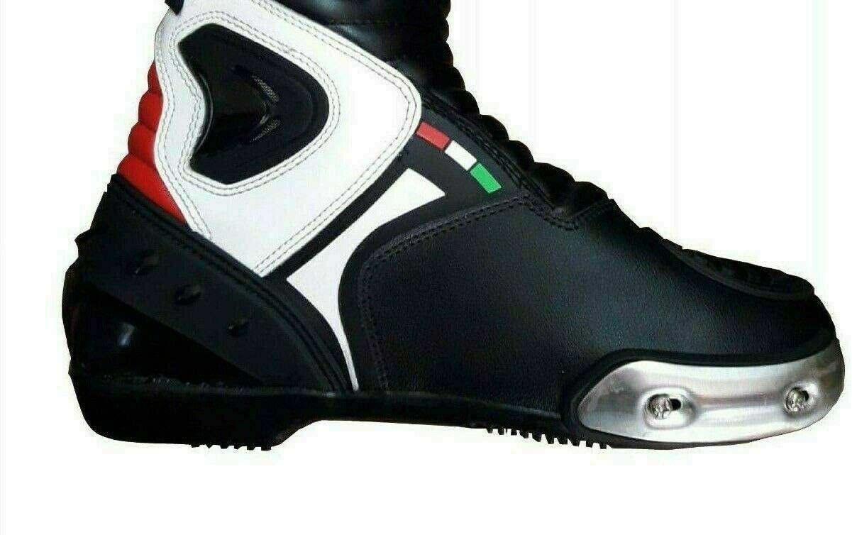 BIESSE Bottes Moto Pista Sport Racing en Cuir Piste Professionnel Respirant 44 Nero//Rosso//Bianco