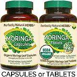 150 Moringa Capsules Made With USDA Certified Organic Moringa Leaf Powder, Net Weight of 500mg per Capsule