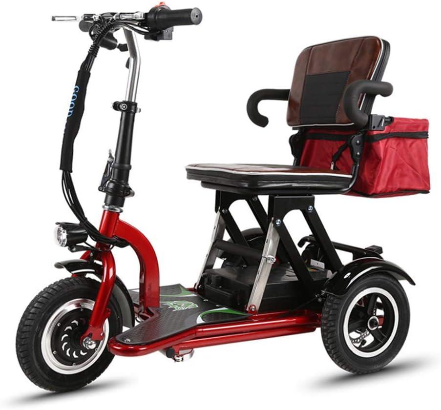 WWWNYY Mini Coche eléctrico Plegable, Scooter eléctrico Tradicional Pasado de Moda del Triciclo, Bicicleta de Control de la batería de Litio (Puede soportar 75KG),Red