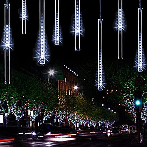 Meteor Shower Christmas Icicle Lights Outdoor, 11.8 inch 10 Tubes 240LED Snowfall Lights Connectable, Waterproof Hanging Rain Drop Lights for Tree Bushes Holiday Party Christmas Decoration White