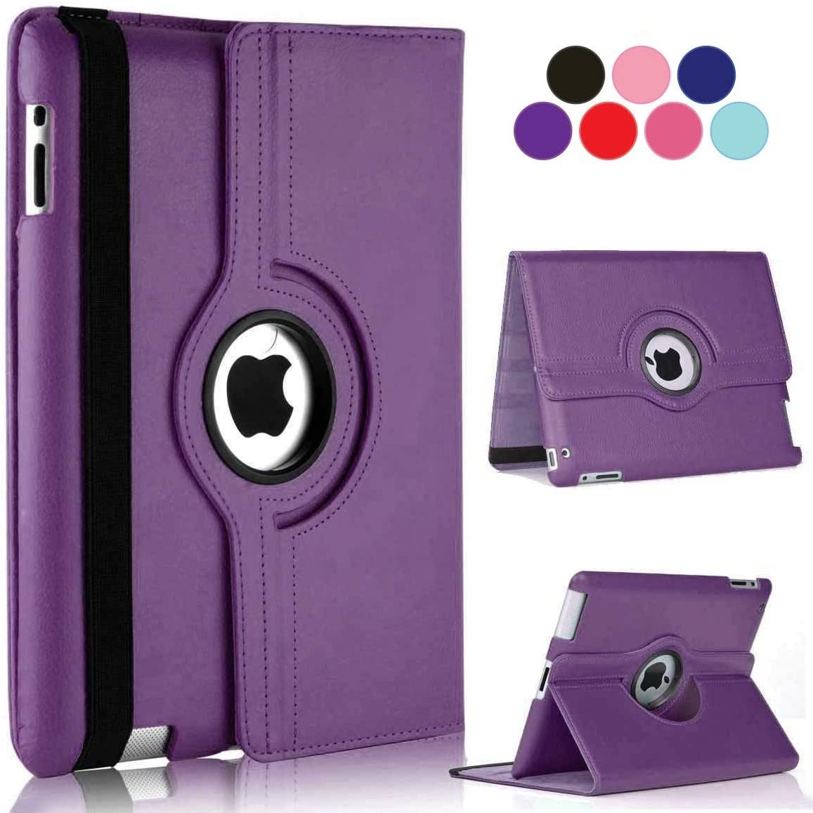 Vultic iPad Pro 12.9 Case - 360 Degree Rotating Stand [Auto Sleep/Wake] Folio Leather Smart Cover Case for Apple iPad Pro 12.9 inch [2nd Gen 2017] & [1st Gen 2015] (Purple)