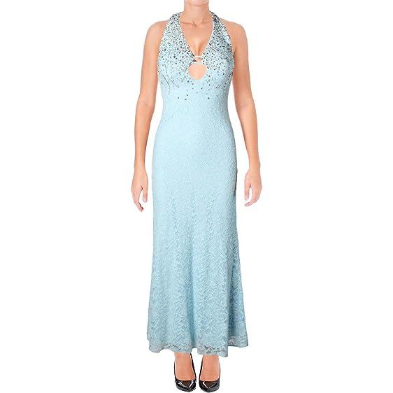 Xscape Womens Petites Embellished Keyhole Evening Dress Blue 2P at ...