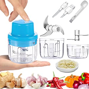 Electric Mini Garlic Chopper Cordless 2 Cup 300&150ML Handheld Electric Garlic Press Mincer Food Chopper Blender, 45W Food Processor Grinder For Meat Chili Pepper Onion Vegetable Nut Baby Food Maker