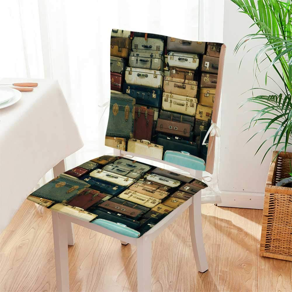 Amazon.com Mikihome Chair Cushion Colorful Vintage Suitcase