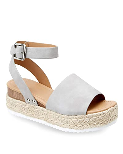 d7acb55a605 Ermonn Womens Espadrilles Platform Sandals Studded Ankle Strap Wedges Open  Toe Summer Shoes