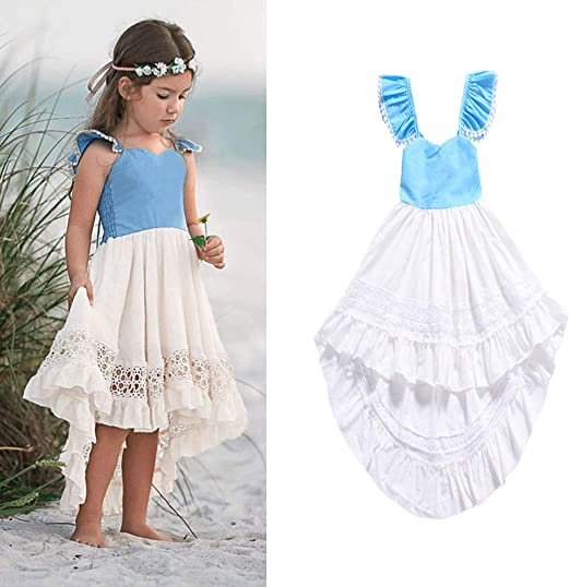 YYQX-4X Vestidos de niña, Falda de Mangas voladoras pequeñas de ...