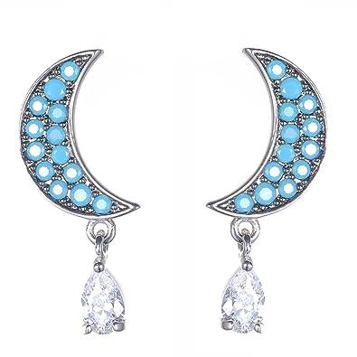 Earrings New Fashion Set With Zircon Crescent Silver Earrings Korea Moon New Style Jewelry