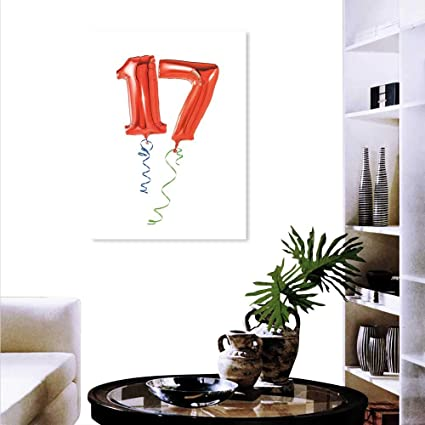 Anyangeight 17th Birthday Canvas Wall Art Bedroom Home Decorations Sweet Seventeen The Party Balloons Curly Ending