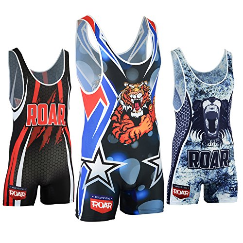 Roar American Tiger Wrestling Singlet Stretch Bodysuit Sports Wear (Amarican Tiger, XL) ()