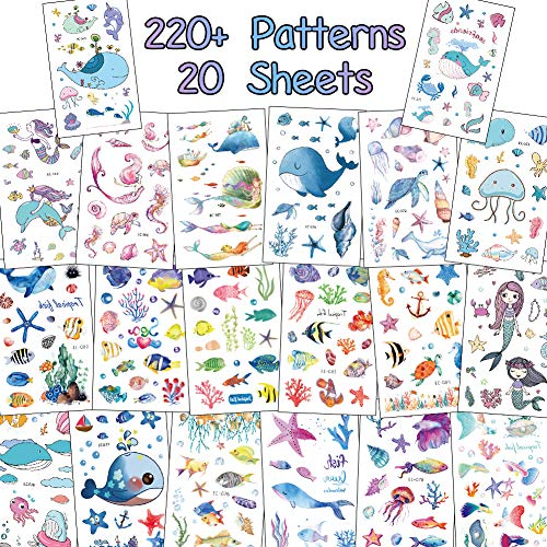 20 Sheets Temporary Tattoos for Kids, Under The Sea Series Body Art Waterproof Tattoos for Boy and Girl Party Favors Supplies - Mermaid, Tropical Fish -