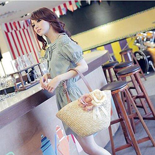 SUNAVY Damen Stroh Strandtaschen Tragbar Schultertasche Sommer Feld Handtaschen mit Süß Blume Dekoration,Gelb Grün