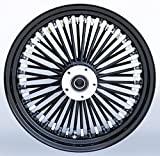 Black/Black Ultima 48 King Spoke 16'' x 3.5'' Front Dual Disc Wheel for Harley and Models, 37-720