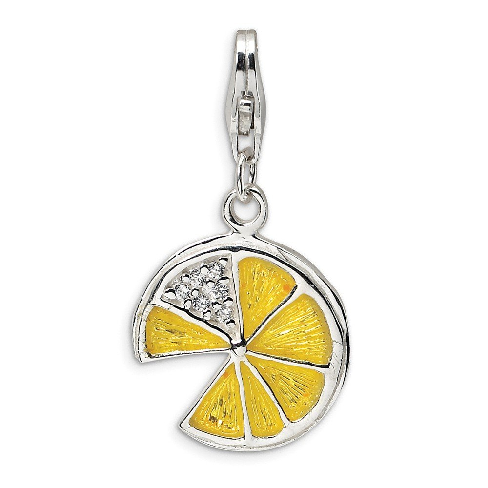 Solid 925 Sterling Silver 3-D Yellow Enamel Lemon Wedge with Lobster Clasp Pendant Charm 15mm x 37mm
