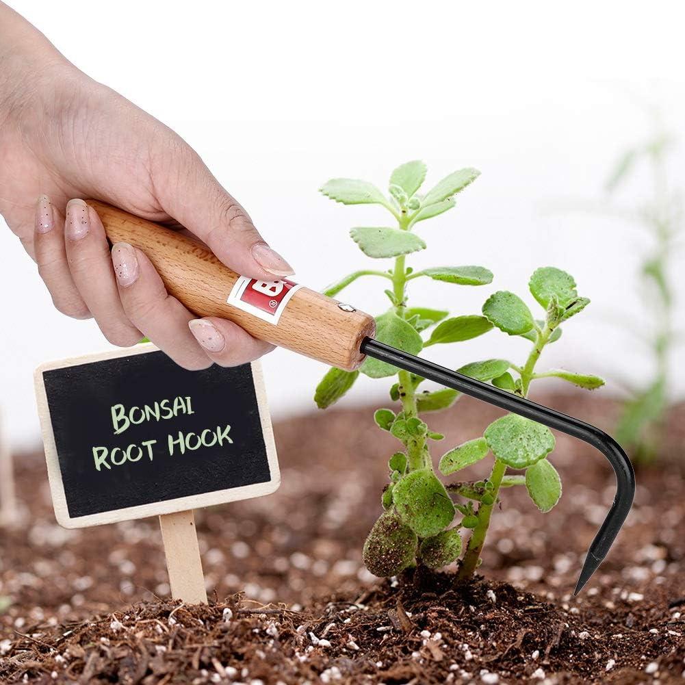 KSTEE Gancho for bons/ái Gancho for ra/íces de bons/ái Resistente al Acero de manganeso Mango de Madera c/ómodo Herramientas de jardiner/ía Jard/ín Gancho for bons/ái de Mango de Madera