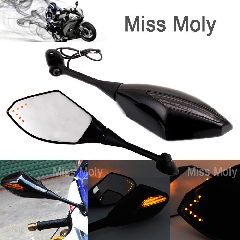 MattSchwarz + Rauchglas Schwarz Motorrad Signal Licht anmachen Spiegel mit LED-Pfeil f/ür CBR GSXR CBR300R 600RR 1000RR