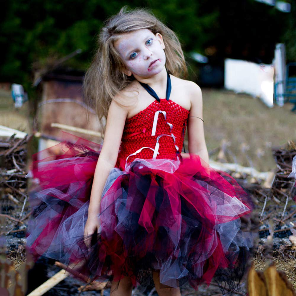 kaiCran Kids Baby Girls Halloween Sling Tutu Dress Sleeveless Cosplay Vampire Dress Outfit