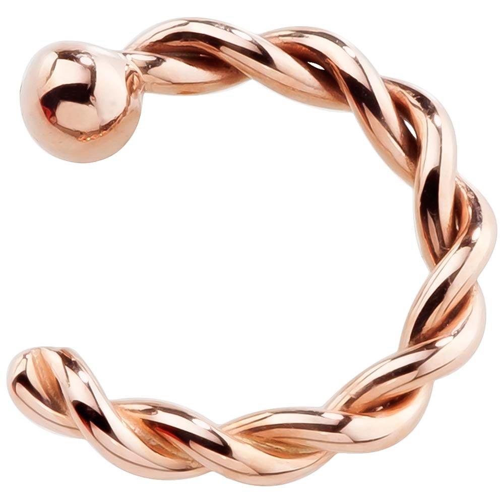 FreshTrends 18 Gauge 5/16''- 14K Rose Gold Twisted Nose Hoop