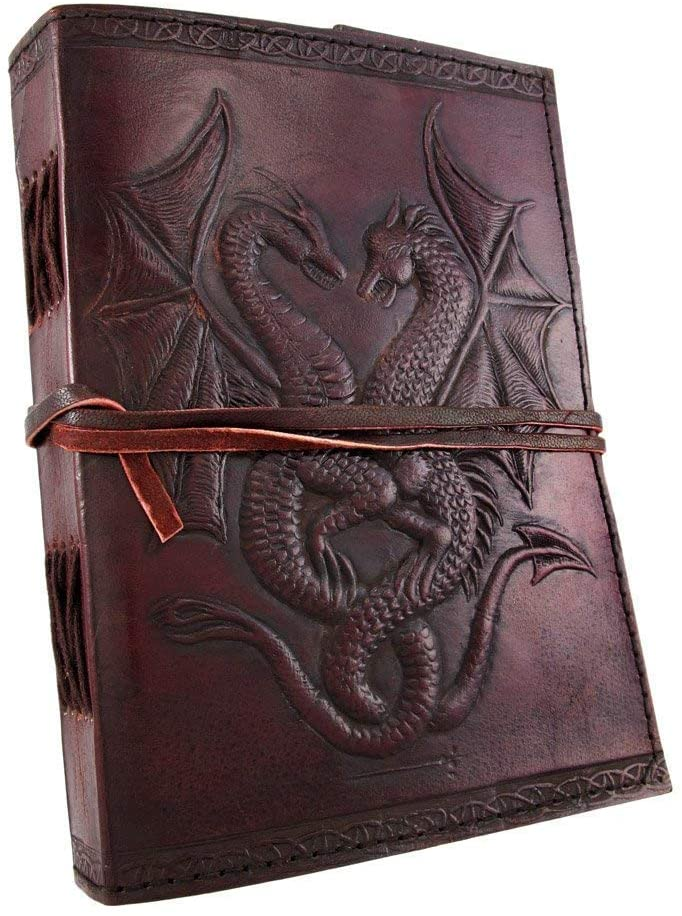 Brown Golden Corner DOUBLE DRAGON Blank Page BOOK Handcrafted Leather Writing Unlined 5 x 7 JOURNAL