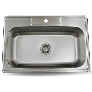 sink smart 33 inch top mount single bowl kitchen sink stainless steel 18 gauge   satin sink smart 33 inch top mount single bowl kitchen sink stainless      rh   amazon com