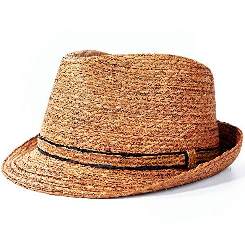 Deevoov 100% Raffia Straw Light Sun Hat Panama Trilby Fedora Short Brim Jazz Cap
