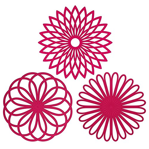 ME.FAN 3 Set Silicone Multi-Use Flower Trivet Mat - Premium Quality Insulated Flexible Durable Non Slip Coasters Hot Pads