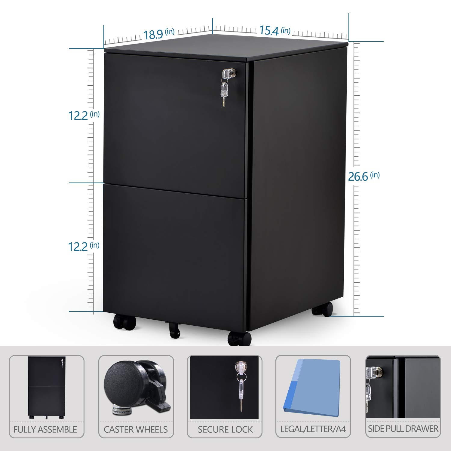 Vertical Metal Filing Cabinet for Home and Office 2 Drawer Mobile File Cabinet with Lock Fully Assembled Except Wheels Black Steel Legal//Letter//A4 Size