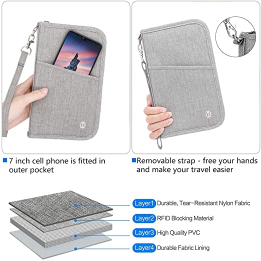 Passport Wallet Ticket and Cash Holder Document Organizer with Removable Strap