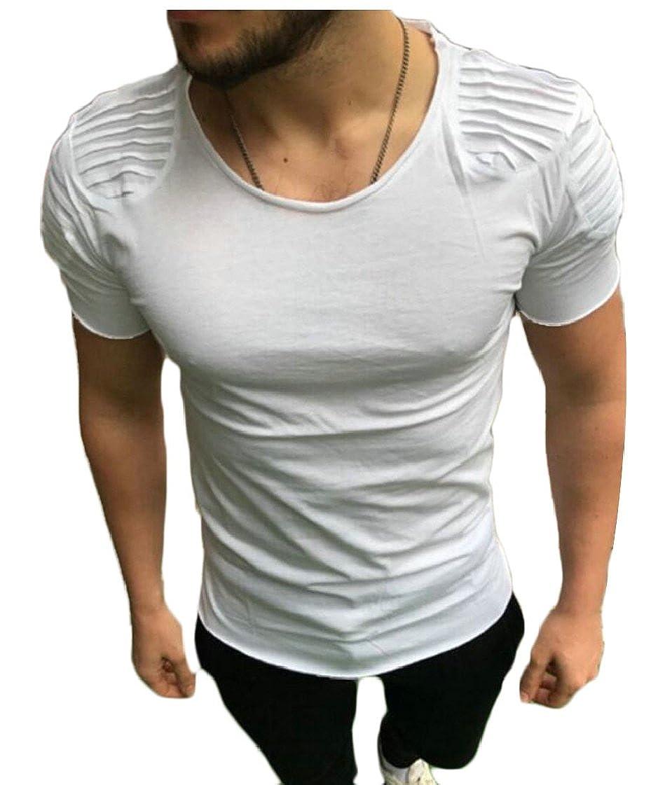 desolateness Mens Basic Breathable Stretch Short Sleeve Crewneck T-Shirt Top