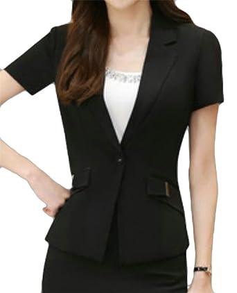 5cc9508912 GAGA Women's Short Sleeve Open Front Lightweight Work Office Blazer Jacket  at Amazon Women's Clothing store: