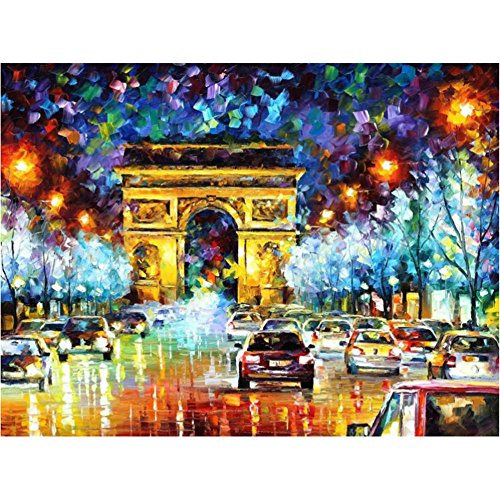 Paint by Number Kit,AICOO DIY Oil Painting Drawing Famous Scenery Canvas Art with Brushes Decorations Gifts 16x20 inch Frameless for Kids,Students,Adults Beginner,Frameless,Triumphal Arch