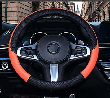 Mayco Bell Microfiber Leather Steering Wheel Cover Wavy Line Splice X-stitch Pattern Black Red
