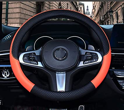 100/%REAL LEATHER STEERING WHEEL COVER FOR MERCEDES C-CLASS W204 ORANGE STITCHING