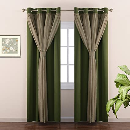 NICETOWN Home Decoration Double Layer Bedroom Window Treatment Sage Crushed Sheer X Blackout Curtains