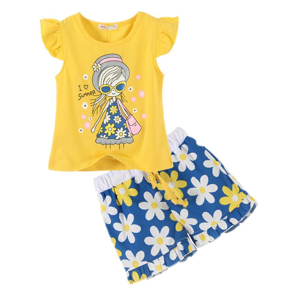 LittleSpring Little Girls' Shorts Set Little Girl Printing Size 4T Yellow